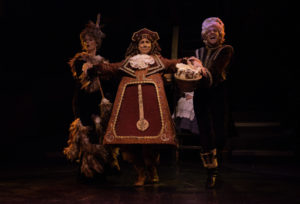 Elizabeth Rayca (left) as Babette, David James (center) as Cogsworth, and Jeremy Scott Blaustein (right) as Lumiere