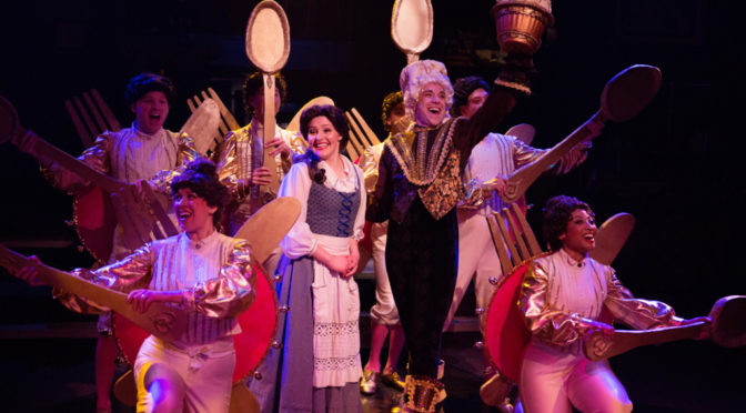 Nicki Elledge (center left) as Belle and Jeremy Scott Blaustein (center right) as Lumiere in Beauty & The Beast