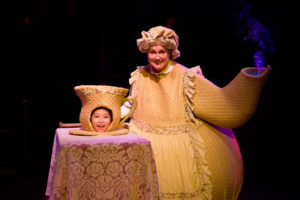 Nathan Pham (left) as Chip and Lynn Sharp-Spears (right) as Mrs. Potts