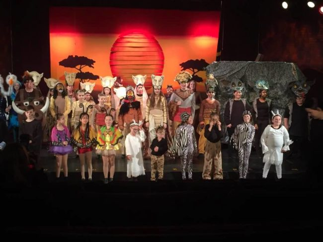 The cast of The Lion King Jr. at Children's Playhouse of Maryland