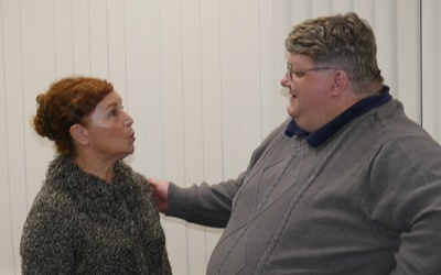 Nina Harris (left) as Helga and Rob Allen (right) as Curtis Appleby