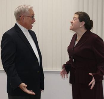 John Jack Degnan (left) as John Wheeler and Kate Wanschura (right) as Elaine Wheeler
