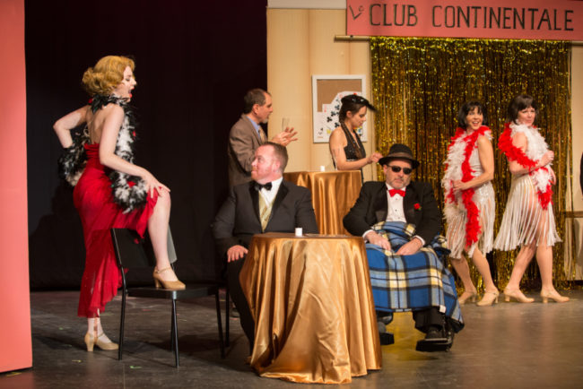 Alyssa Bell (left) as Dominique Du Monaco, Rob Wall (center) as Harry Witherspoon, and Michael Cornell (right) as Tony Hendon in Lucky Stiff