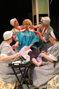 Suzanne Young (center) as Countess de Lage and The Women (Megan Avery, Amy Bell, Amie Bell, Kate Crosby) of Michael's Salon