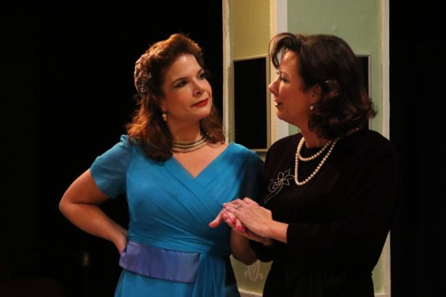 Melanie Bishop (left) as Sylvia Fowler and Michele Guyton (right) as Mary Haines in The Women
