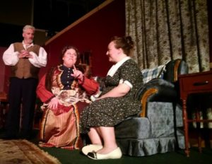 Kevin McAndrews (left) as Boris Kolenkhov, Angela Sunstone (center) as Grand Duchess Olga Katrina, and Rachel Cruz (right) as Penny Sycamore
