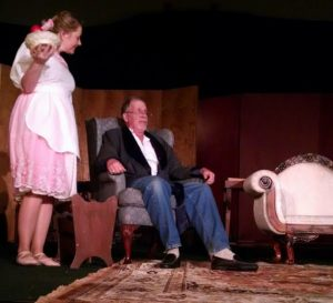 Jenny Liese (left) as Essie and Jeff Larsen (right) as Grandpa in You Can't Take It With You