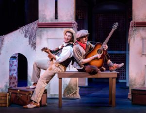 a'Von Moody (left) as Sir Toby Belch and Cole Larravide (right) as Feste