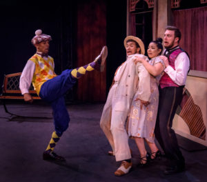 (L to R) David Singleton as Malvolio, Da'Von Moody as Sir Toby Belch, Geocel Batista as Maria, and Gordy Anson as Fabian