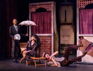 David Singleton (left) as Malvolio, Lilly White as Olivia, and Cole Larravide as Feste