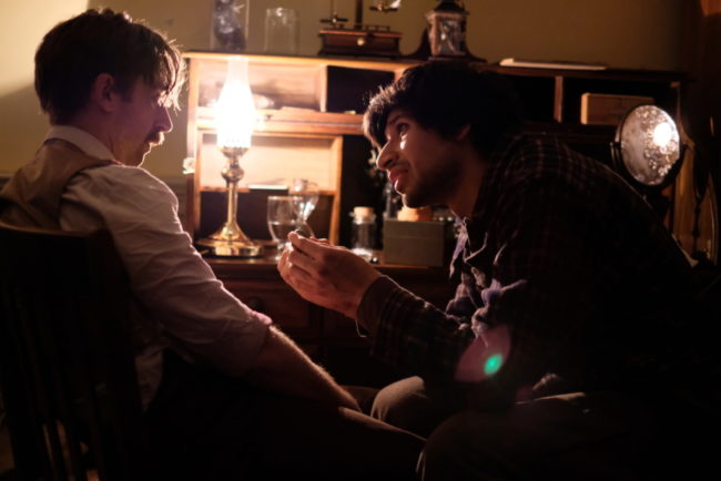 Alex Vernon (left) and Francisco Benavides (right)  in a scene from H.T. Darling's Incredible MUSÆUM