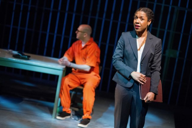 (L to R) Erica Chamblee as Pumla Gobodo-Madikizela and Chris Genebach as Eugene  de Kock in A Human Being Died That Night at Mosaic Theater Company of DC,