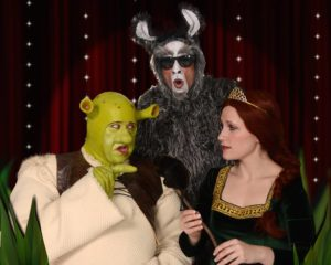 Dickie Mahoney (left) as Shrek, Gary Dieter (center) as Donkey, and Sherry Benedek (right) as Fiona