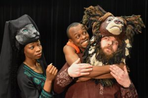 Mowgli loves his jungle friends, Bagheera and Baloo. (L-R: Latia Stokes, Justin Weaks, Ryan Andrew Mitchell)