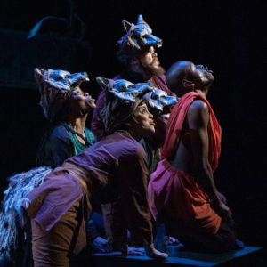 Mowgli howls at the moon with his wolf family. (L-R: Latia Stokes, Nora Achrati, Ryan Andrew Mitchell, Ricardo Frederick Evans, Justin Weaks)