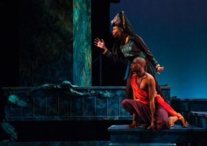 Bagheera teaches Mowgli the ways of the jungle. (L-R: Latia Stokes, Justin Weaks)