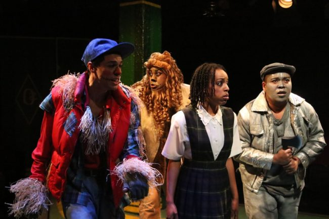 (L to R) Justin Johnson as Scarecrow, J. Purnell Hargrove as Lion, Amber Hooper as Dorothy, and Shae Henry as TinMan in The Wiz