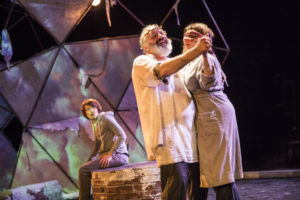 Sarah Barker (background) as Edgar with Rick Foucheux (left) as Lear and Cam Magee (right) as Gloucester