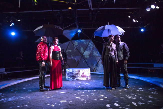 (L to R) Frank Britton as Cornwall, Charlene V. Smith as Regan, Alyssa Sanders as Goneril, and Louis E. Davis as Oswald