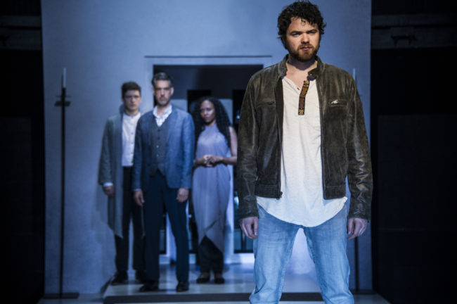 Ari McKay Wilford (Judas) with Sam Ludwig (Annas), Thomas Adrian Simpson (Caiaphas) and Kara-Tameika Watkins (Priest) inJesus Christ Superstar at Signature Theatre