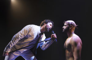 Ari McKay Wilford (Judas) and Nicholas Edwards (Jesus) in Jesus Christ Superstar