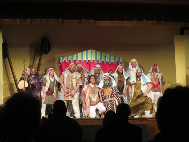 Paul Kennedy (center left) as Joseph and Rodney Bonds (center right) as Jacob and the Brothers