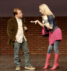 Matt Wetzel as Emmett Forrest; Lindsey Landry as Elle Woods with Biscuit Boo Bradbury as Bruiser