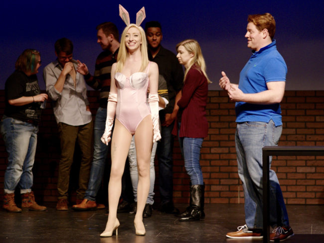 Lindsey Landry as Elle Woods; Stephen Foreman as Warner Huntington III