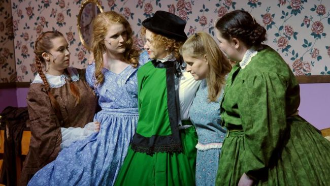 (L to R) Mea Holloway as Beth March, Grace Dillon as Jo March, Christine Thomas as Marmee, Lizzy Jackson as Amy March, and Maggie Flanigan as Meg March