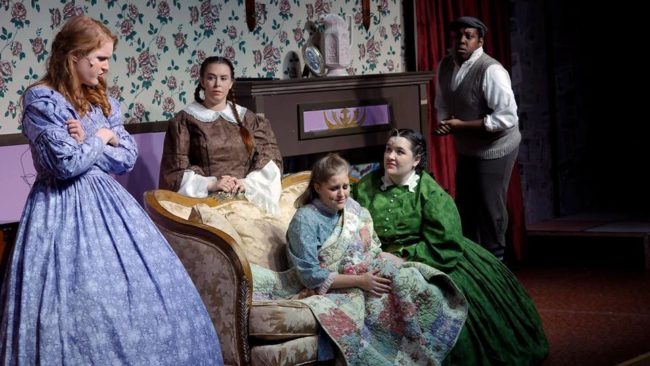 (L to R) Grace Dillon as Jo March, Mea Holloway as Beth March, Lizzy Jackson as Amy March, Maggie Flanigan as Meg March, and J. Purnell Hargrove as Laurie