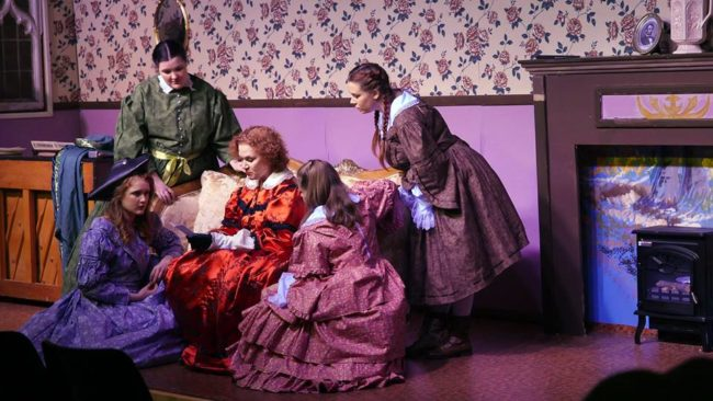 (L to R) Grace Dillon as Jo March, Maggie Flanigan as Meg March, Christine Thomas as Marmee, Lizzy Jackson as Amy March, and Mea Holloway as Beth March