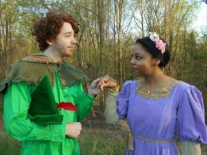 Jon Kevin Lazarus (left) as Robin Hood and Rachel Reckling (right) as Maid Marian