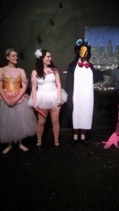 Nicolette Le Faye (left), Ann Tabor, Center, and Ellen Jenkins, the Penguin (right)