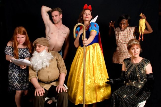 (L to R) Hallie Parrott as Nina, Jim Reiter as Vanya, Patrick Finn as Spike, Rebecca Kyler Down as Masha, Ashley Spooner as Cassandra, and Darice Clewell as Sonia