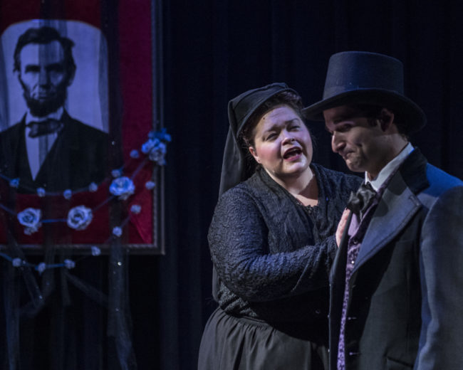 Melynda Burdette as Mary Todd Lincoln, and Russell Silber as Robert Todd Lincoln in Crazy Mary Lincoln, a new musical by Jan Levy Tranen and Jay Schwandt produced by Pallas Theatre Collective