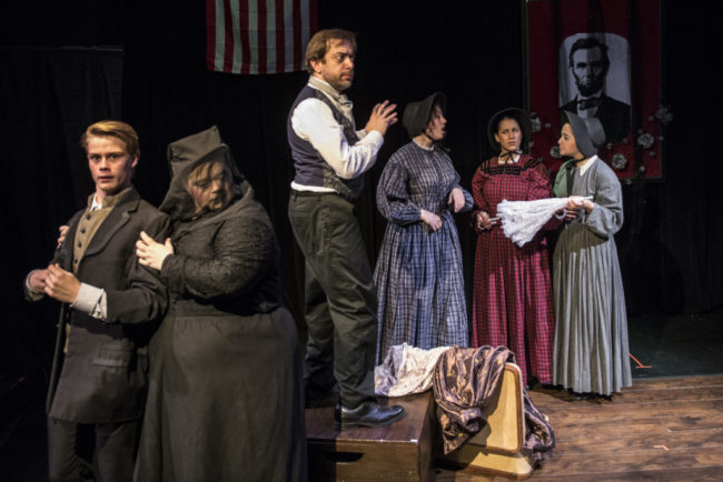 Melynda Burette as Mary Todd Lincoln with Brevan Collins, Russell Silber and Erin Granfield in Crazy Mary Lincoln, a new musical by Jan Levy Tranen and Jay Schwandt produced by Pallas Theatre Collective.