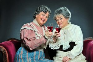 Joan Crooks (left) as Martha Brewster and Carol Conley Evans (right) as Abby Brewster