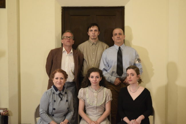 L to R Top: Jon Swift as Servant to the Capulets, James Ruth as Tybalt, Daniel Douek as Lord Capulet.  L to R Bottom Row: Julie Press as Nurse, Allie Press as Juliet and Carolyn Koch as Lady Capulet