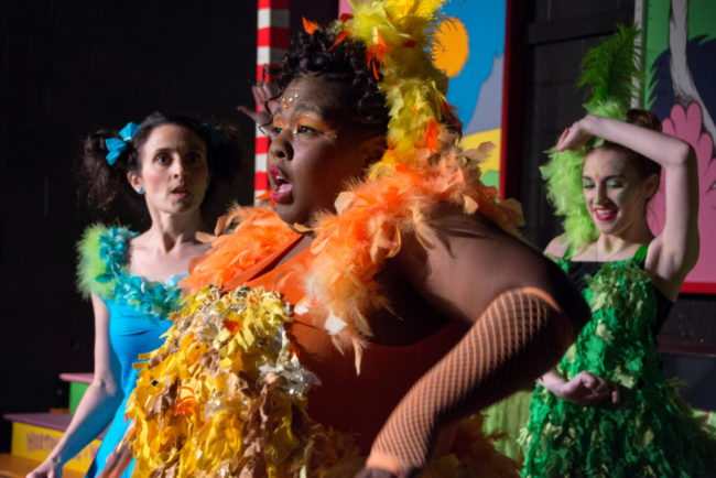 Stephanie Mahoney (left) as Gertrude McFuzz, Tigga Smaller (center) as Mayzie LaBird and Katie Loftus (right) as Green Bird Girl