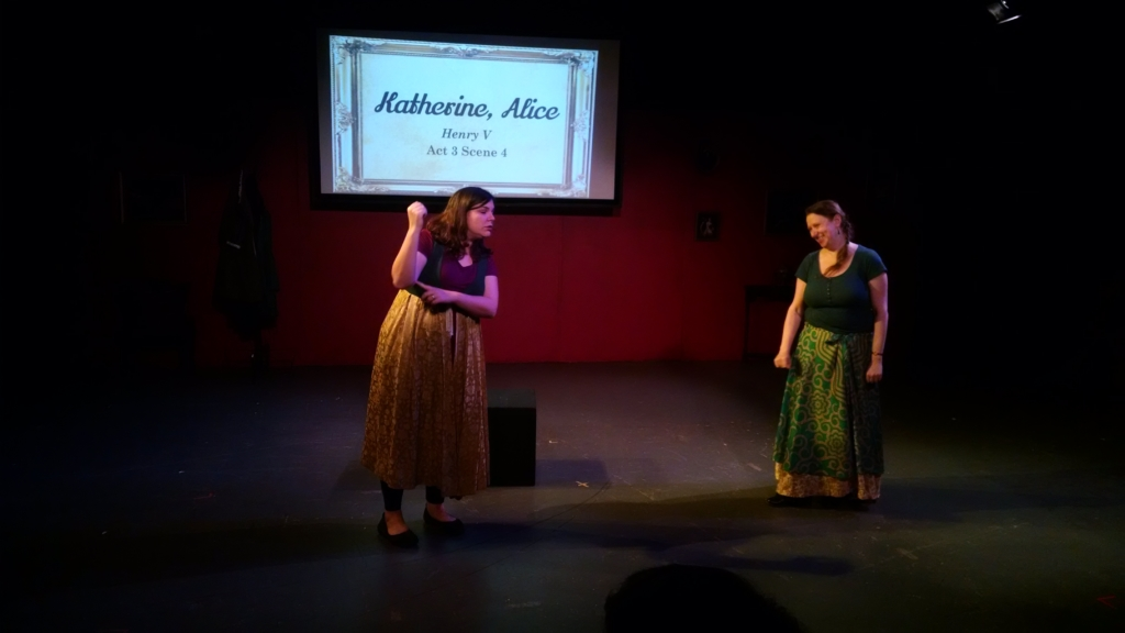 Leanne Stump (left) as Katherine and Liana Olear (Right) as Alice in Henry V