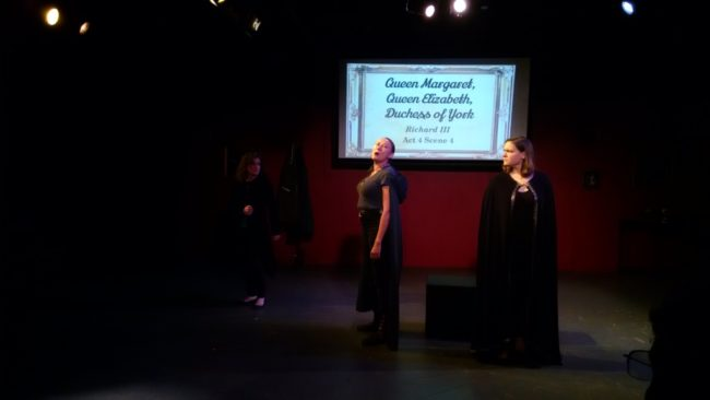Allison McAlister (left) as Duchess of York, Jaki Demarest (center) as Queen Margaret, and Claudia Bach (right) as Queen Elizabeth in Richard III