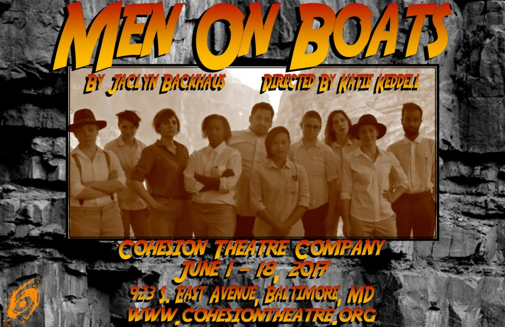 Justin Lawson Isett (far right) as Old Shady, leading the company of Men On Boats in song