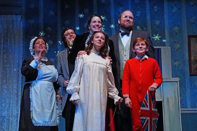 (L to R) Penni Barnett as Mrs. Brill, John Davis Wooten-Klebanoff as Robertson Ay, Mary Schmidt Wakefield as Mrs. Banks,  Sophia Riazi-Sekowski as Jane, John Dickson Wakefield as Mr. Banks, and Nathaniel Burkhead as Michael