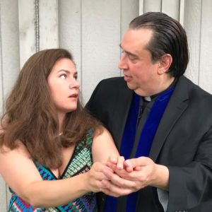Christina Wilharm (left) as Kay Mostyn and Aref Dajani (right) as Canon Pennefather