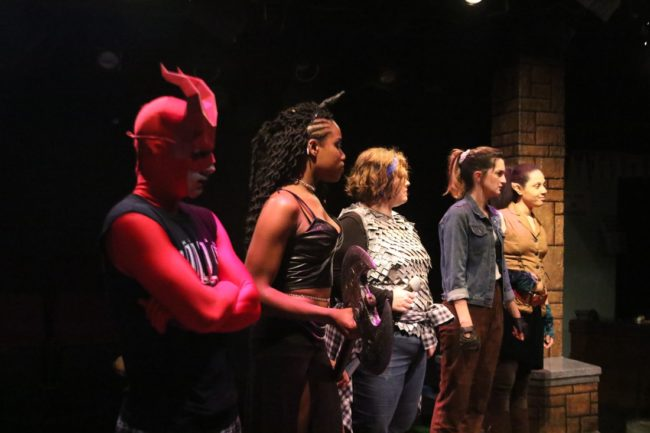 (L to R) The Adventurer's Party: Stephen Edwards as Orcus, Danielle Shorts as Lilith, Lanoree Blake as Tilly, Rachel Verhaaren as Agnes, and Amanda Harris as Kaliope