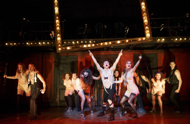 Jon Peterson as the Emcee and the 2017 National Touring cast of Roundabout Theatre Company's CABARET