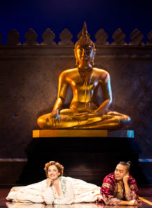 Laura Michelle Kelly (left) as Anna and Jose Llana (right) as The King