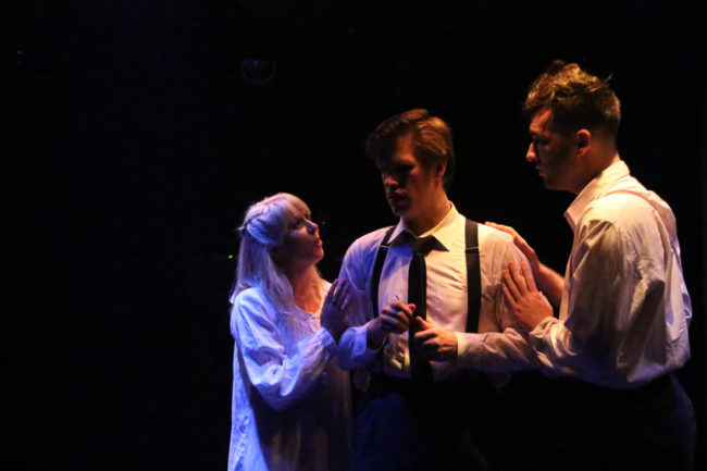 Allison Comotto (left) as Wendla, Sean Dynan (center) as Melchior, and Jim Baxter (right) as Moritz