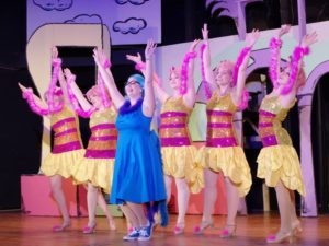 Megan Mostow (center) as Mayzie and The Bird Girls in Seussical; The Musical