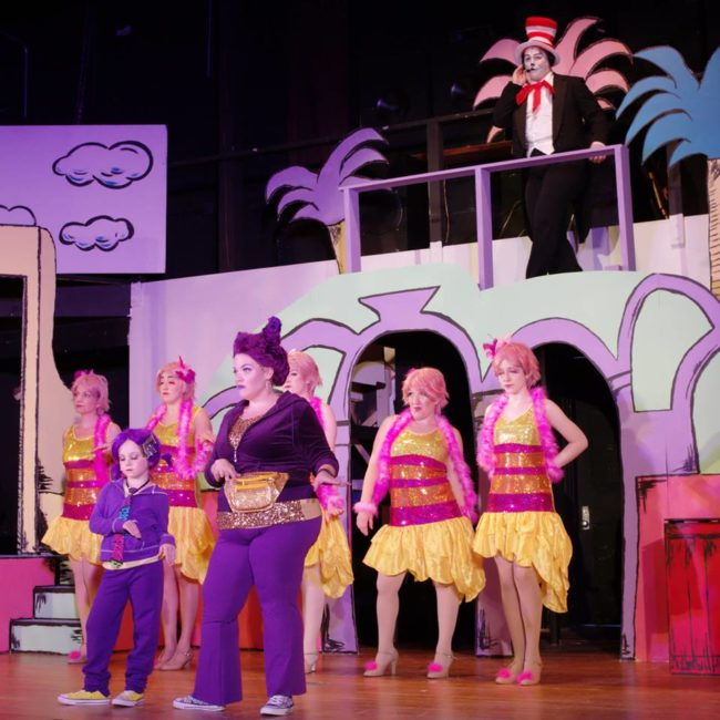 Kristen Zwobot (center) as Sour Kangaroo, with Talya Goldstein (left of her) as Young Kangaroo and the Bird Girls (background)